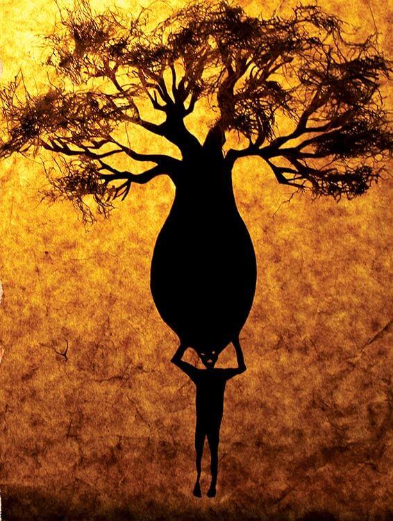 Baoba ilustração Angelo Abu - 'O Embondeiro que sonhava pássaros' - Mia Couto