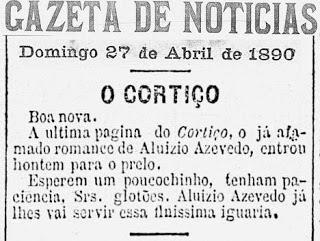"""anunciolivroazevedo - """"O Cortiço"""", a obra emblemática de Aluísio Azevedo completa 130 anos"""